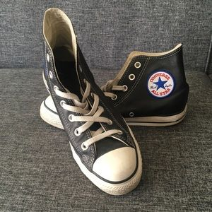 Converse Black Leather Chuck Taylor's